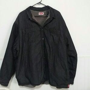 Mens size 2XL wrangler coat black/grey euc